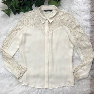 Zara Ivory Winter White Lace Blouse Button front